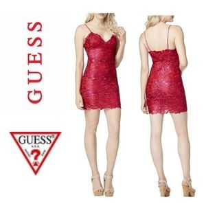 NWT GUESS Jean Pink Metallic Lace Mini Slip Dress